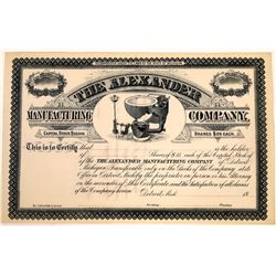 Alexander Manufacturing Company Early Toilet Vignette Stock Certificate (1)  [127747]
