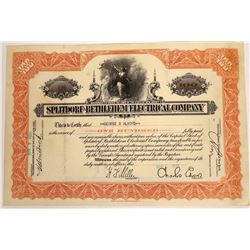 Splitdorf-Bethlehem Electic Stock Signed by Charles Edison, Thomas Edison's Son  [128761]