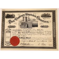 Stock Certificate From 1874 for Weston Boiler Company  [127420]