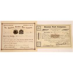 Braided Wire and Nail Companies Stock Certificates (2)  [127744]