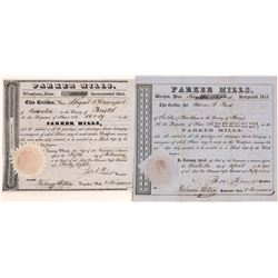 Parker (Iron)  Mills Stock Certificates from 1848 & 1857 (2)  [127690]