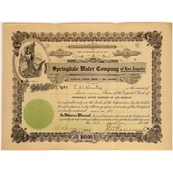 Springdale Water Company of Los Angeles Stock Certificate  [113842]