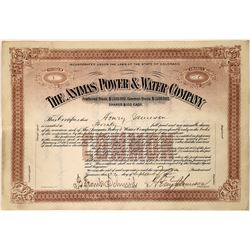 Animas Power & Water Co. Stock Certificate  [127459]