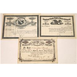 Three Early Electric & Light Company Stock Certificates (3)  [127451]
