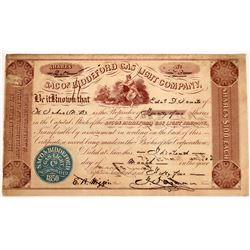 Saco & Biddeford Gas Light Company Stock Certificate, 1855  [127468]