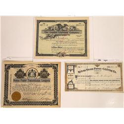 Helena, Montana Non-Mining Stock Certificates--All Number 1  [127583]