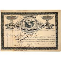 Nebraska Light & Motor Company Stock Certificate  [127836]