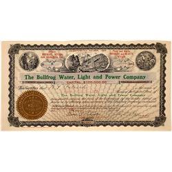 Rare Rhyolite Nevada Water & Power Company Stock Certificate  [127464]