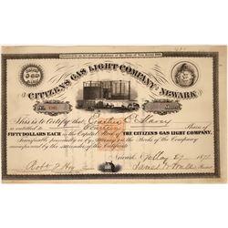 Extra Rare Gas Light Company Stock Certificate with Imprinted Revenue  [127452]