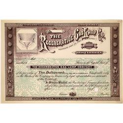 The Regenerative Gas Lamp Company Stock Certificate  [127479]
