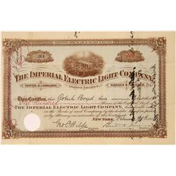 Imperial Electric Light Co. Stock Certificate  [127454]