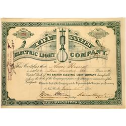Baxter Electric Light Company Stock Certificate  [127839]