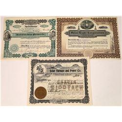 Three Vintage Solar Company Stock Certificates  [127838]