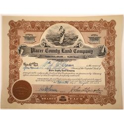 Placer County Land Company Stock Certificate  [107930]