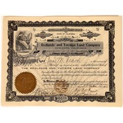 Redlands and Yucaipa Land Company Stock Certificate  [113917]