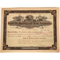 Santa Fe Building & Loan Association Stock Certificate  [113911]
