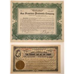 Early San Francisco Bay Development Co. Stock Certificates  [107926]