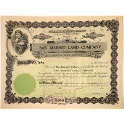 San Marino Land Company Stock Certificate  [107957]