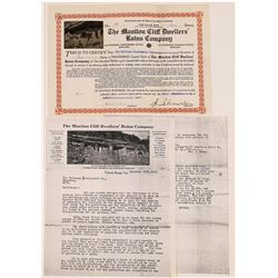 Manitou Cliff Dwellers' Ruins Company Stock Certificate (1) and Letter  [127714]
