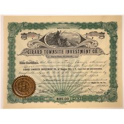 Girard Townsite Investment Company Stock Certificate  [107951]