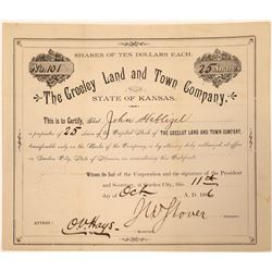 Greeley Land & Town Company Stock Certificate  [107923]