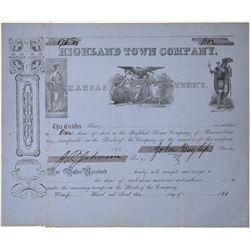 Kansas Territory Town Stock Certificate  [126568]