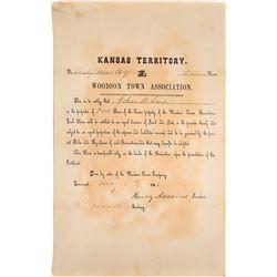 Woodson Town Association Stock, Kansas Territory  [113922]
