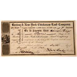 Boston & New York Chickasaw Land Co. Stock Certificate  [113944]