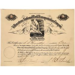 Yellowstone National Park Transportation Company Stock signed by Child with Old Faithful Pictorial