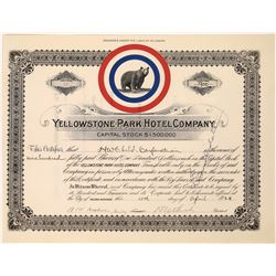 Yellowstone Park Hotel Company certificate issued to H. W. Child and signed by president Child.   [1