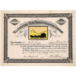 Yellowstone Park Transportation Company, Certificate number 1!  [123988]