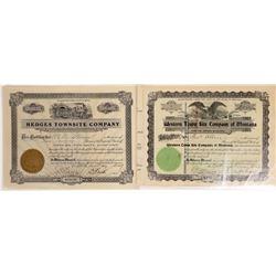 Montana Townsites Stock Certificate Pair  [127593]