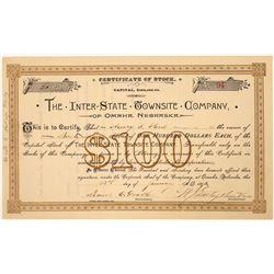 Inter-State Townsite Co. of Omaha, Nebraska Stock Certificate  [107944]