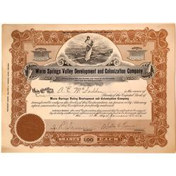 Warm Springs Valley Development & Colonization Co. Stock Certificate  [113913]