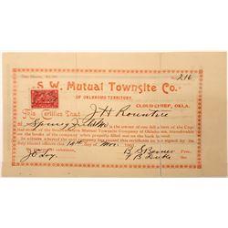 Southwestern (SW) Mutual Townsite Co. of Oklahoma Territory Stock  [107946]