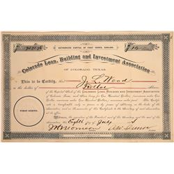 Colorado, Texas Loan Building & Investment Association Stock, 1884  [128793]