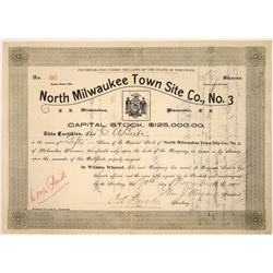 North Milwaukee Town Site Co. No. 3 Stock Certificate  [107949]