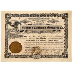 California Fireworks Company Stock certificate  [127400]