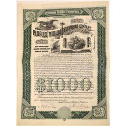 People's Mutual Telephone Company Gold Bond, California, 1898  [131014]