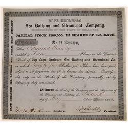 Cape Henlopen Sea Bathing & Steamboat Company Stock, 1852  [128636]