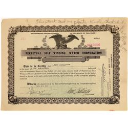 Perpetual Self Winding Watch Corporation Stock Certificate (1)  [127357]