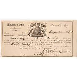 Savings Exchange Association Stock Certificate w/ Possible Mormon Ties  [107959]