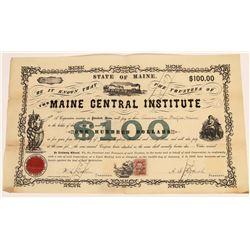 Maine High School Stock Certificate 1869  [128951]