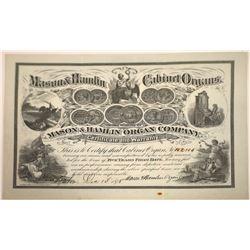 Mason & Hamlin Cabinet Organs Fancy Warranty Certificate, Boston,1878  [131081]