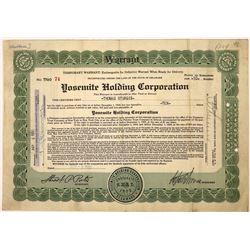 Yosemite Holding Corporation Stock Certificate  [107945]