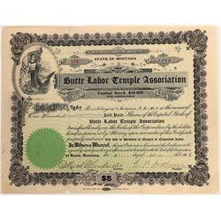 Butte Labor Temple Association Stock Certificate  [127595]