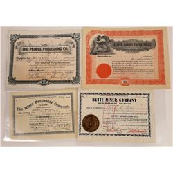 Butte Printing & Publishing Stock Certificate Group  [127599]