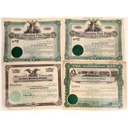 Montana Publishing Stock Certificate Group  [127591]