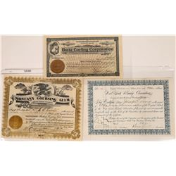 Butte Sports Related Stock Certificates  [127598]