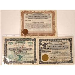 Dillon, Montana Stock Certificate Trio incl. Two #1  [127578]
